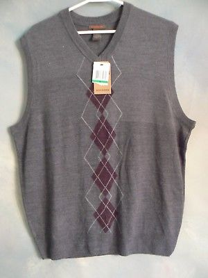 NEW WITH TAGS DOCKERS MENS  CASUAL V-NECK ARGYLE SWEATER VEST  GRAY  SZ LARGE
