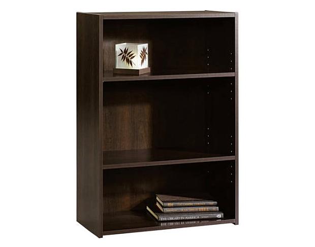 Sauder Beginnings 3-Shelf Cinnamon Cherry Bookcase Pictures Sturdy Home CD/DVD