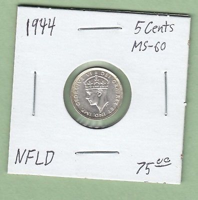 1944 Newfoundland 5 Cents Silver Coin - MS-60
