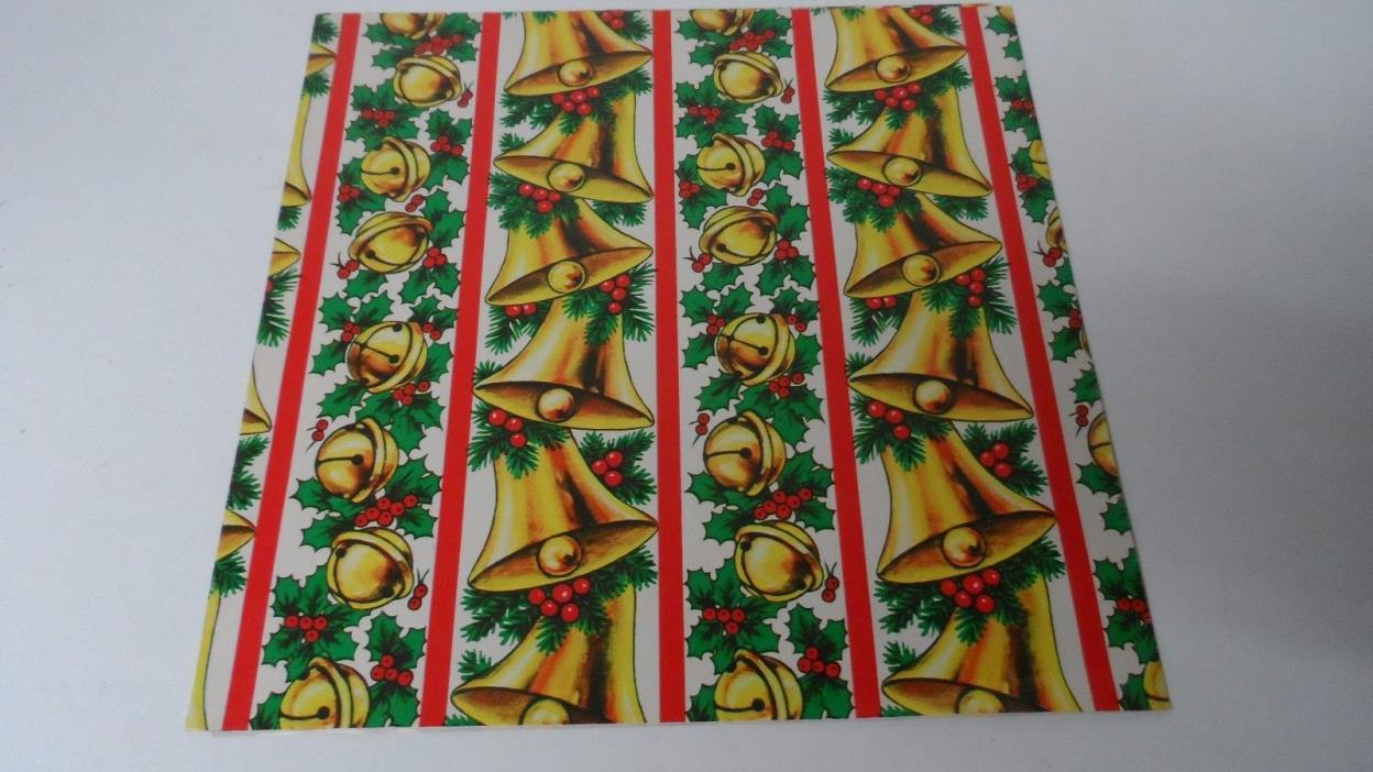 Vintage Christmas Wrapping Paper - CHURCH BELLS & JINGLE BELLS - Unused