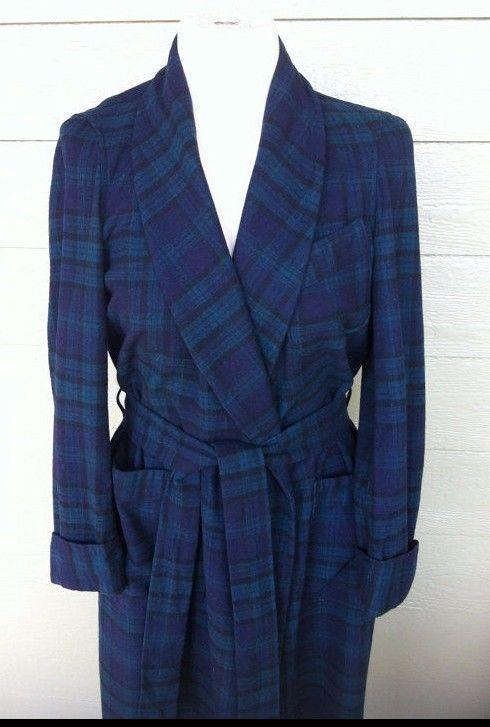 PENDLETON Black Watch TARTAN Plaid Virgin Wool Robe Men Sz S / Made in USA NEW