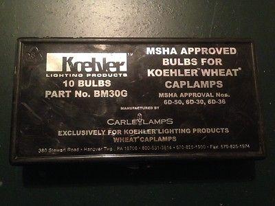 Koehler BM30G Bulbs for Mine Cap Lamps, MSHA Approved