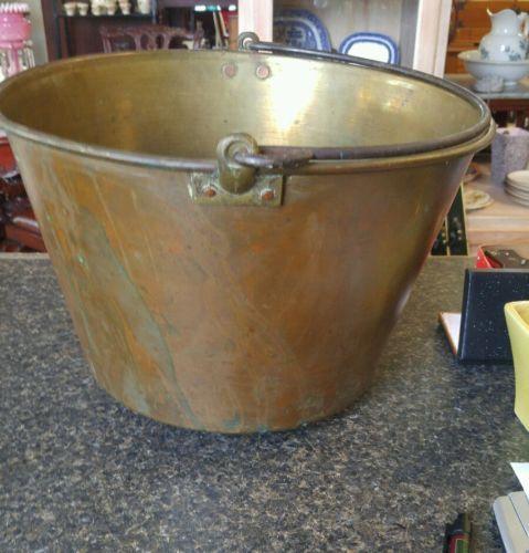 Vintage H.W Haydens Brass Pail/Bucket 11 by 14   Dec 1866