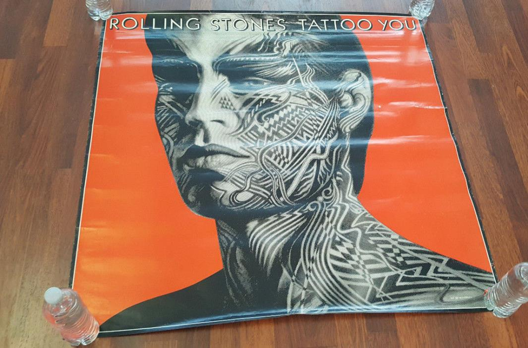 Rolling Stones Vintage Original Tattoo You Poster Mick Jagger 36 X 36 1981