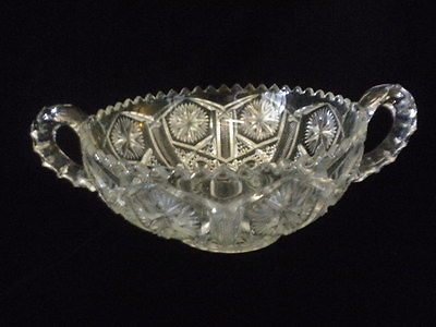 VINTAGE ETCHED/PRESS GLASS BOWL 2 HANDLES SAWTOOTH STARS