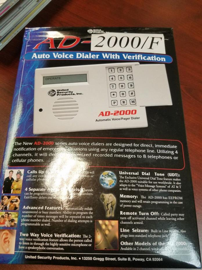 AD-2000/F Auto Voice Dialer With Verification: NEW