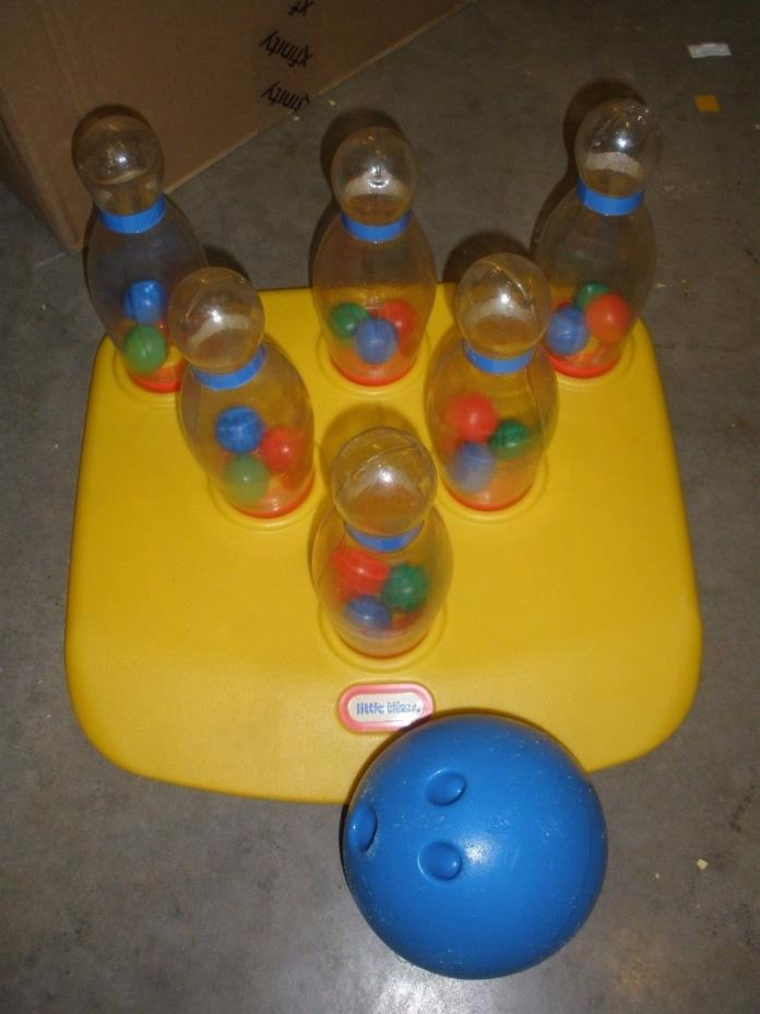 Vintage Little Tikes BOWLING SET Plastic Blue Ball 6 Clear Pins L@@K! Rare
