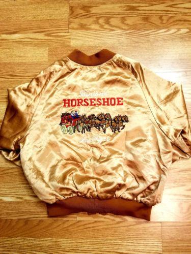 vtg BINIONS HORSESHOE satin jacket Las Vegas 80s collectable XL