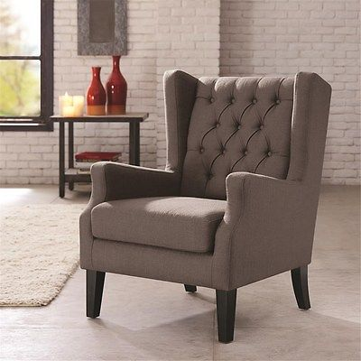 Grey Wing Back Chair Button Tufted