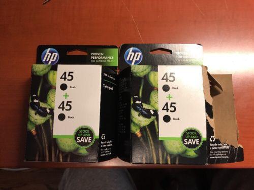 3 HP 45 Black Ink Cartridge Set New Genuine 51645A in OEM Packaging Expired 2013