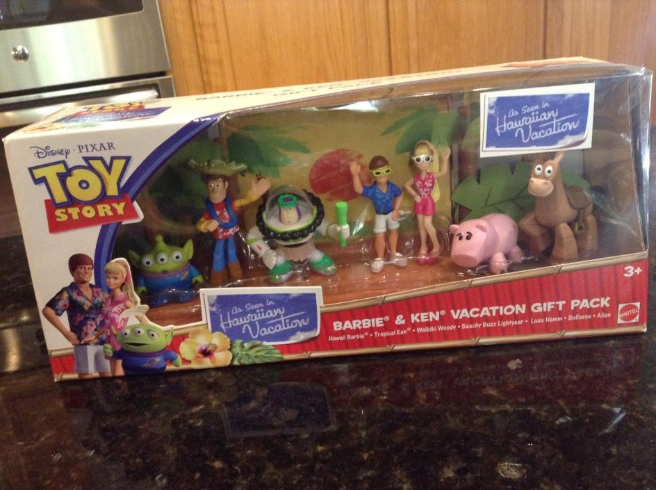 DISNEY PIXAR TOY STORY HAWAIIAN VACATION WOODY BARBIE & KEN FIGURE GIFT PACK SET