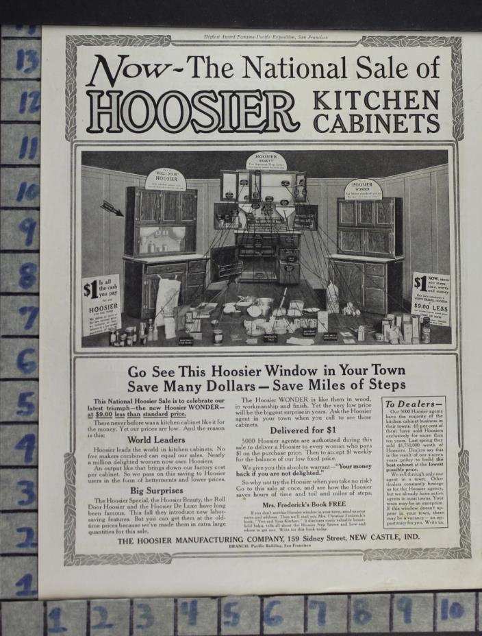 1915 HOME DECOR KITCHEN HOOSIER CABINETS STORAGE NEW CASTLE VINTAGE AD DL27