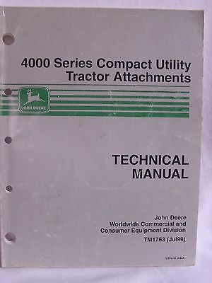 John Deere 4000 Series Compact Utility Tractor Attachments Technical Manual