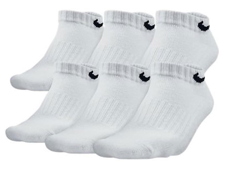 Nike Boys Band Cotton Low Cut 6-Pack Socks SX4457-101 White Black US Size Large
