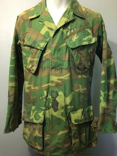 Vtg Vietnam Jungle Jacket Camouflage Coat Shirt Mens Small Slant Pockets Ripstop
