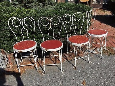 Set Of 4 Vintage Twisted Metal Iron Ice Cream Parlor Chairs Bistro Antique