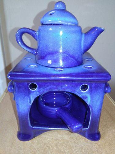 Ceramic stove scentsy warmer light and dark blue decor New 4 pieces