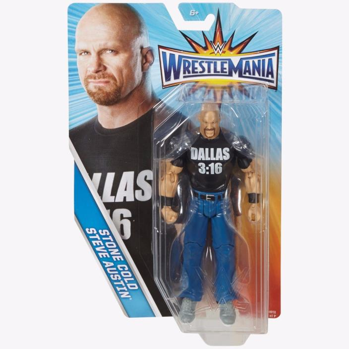 Stone Cold Steve Austin WWE Wrestlemania Action Figure Mattel Dallas 3:16 NIB
