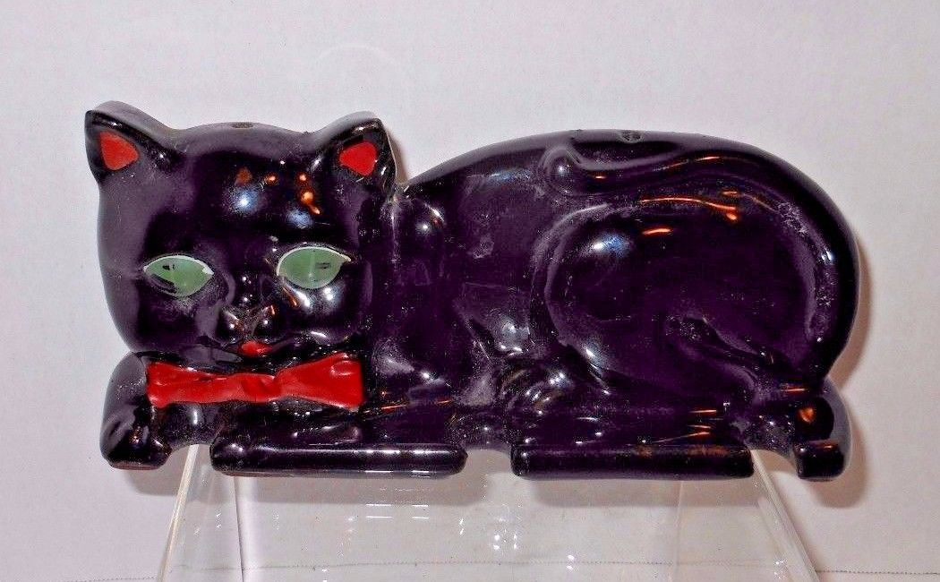 Scarce Vintage Shafford Japan Black Cat Spoon / Utensil Holder