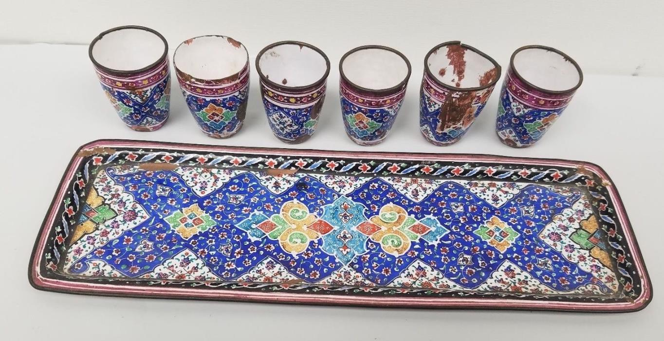 ANTIQUE PERSIAN KIDDUSH ISLAMIC ENAMEL ON COPPER ISFAHAN TRAY & CUPS