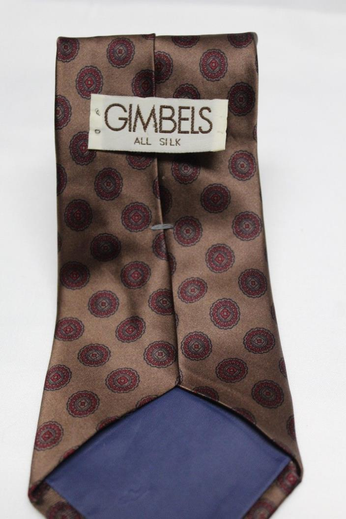 Gimbels All Silk Neck Tie Classic Thick Bronze Red Geometric Tie High Luster