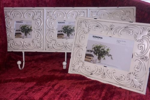 Shabby Chic Ivory  Decorative 3-Opening Collage Metal Wall Hanging And Frame NWT