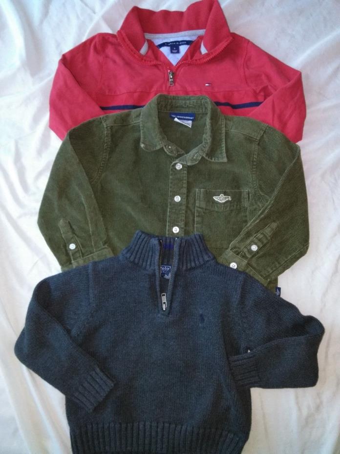 Lot 3 Boys Warm L/S Sweater Shirts Ralph Lauren/Tommy Hilfiger/Dockers Size 4