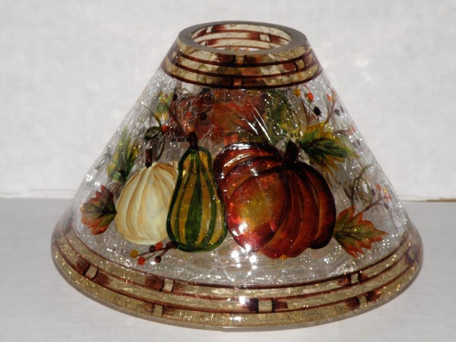 YANKEE CANDLE HARVEST BOUNTY CRACKLE GLASS JAR CANDLE SHADE NWTS RETIRED & VHTF