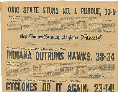 Iowa Hawkeyes Indiana Cyclones Kansas Ohio St Purdue 1968 Des Moines Register