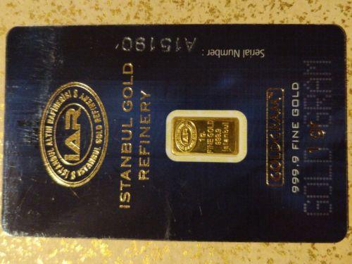 1 gram Istanbul Refinery Gold Bar 999.9 Fine