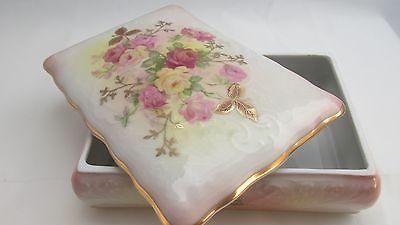SCHUMANN SUNSET ROSE FLOWER PORCELAIN CABINET BOX Golden Crown, Arzburg Germany