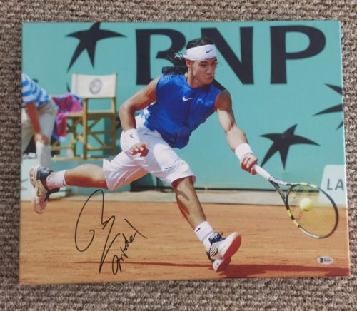 Rafael Nadal  Signed 16X20 Canvas Print Stretched Beckett  French Open Tennis