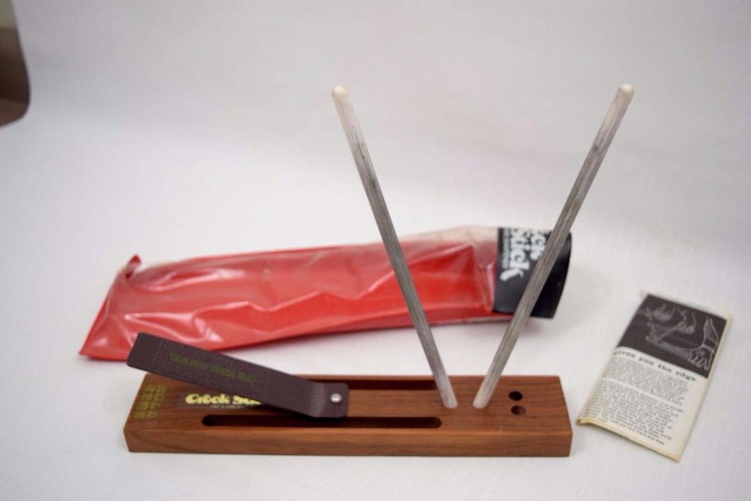 NICE!  Vintage Crock Stick 2 Rod Knife & Scissor Sharpener Kit