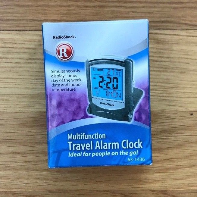 Radio Shack Multi Function Travel Alarm Clock~Time, Date, Temp, New in Box