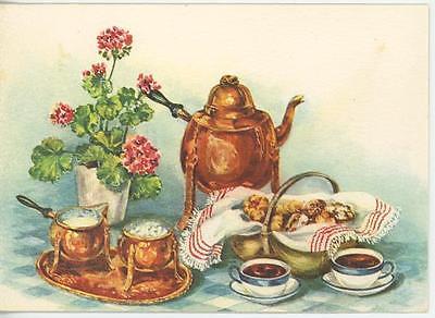 VINTAGE TEAPOT CREAMER SUGAR POT TEA STOLLEN CREPES RECIPE CARD ART PRINT