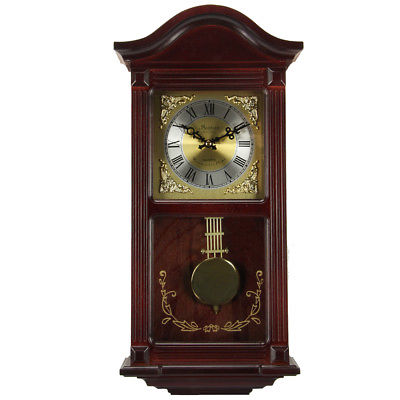 Bedford Clock Collection Mahogany Cherry Wood 22 Wall Clock with Pendulum and Ch