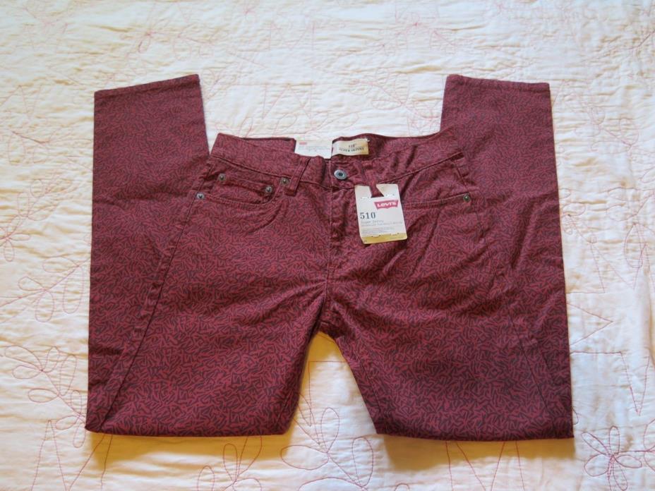 NWT Levis 510 Boys Super Skinny Fit Jeans 14 Reg 27x27 Burnt Henna Remix