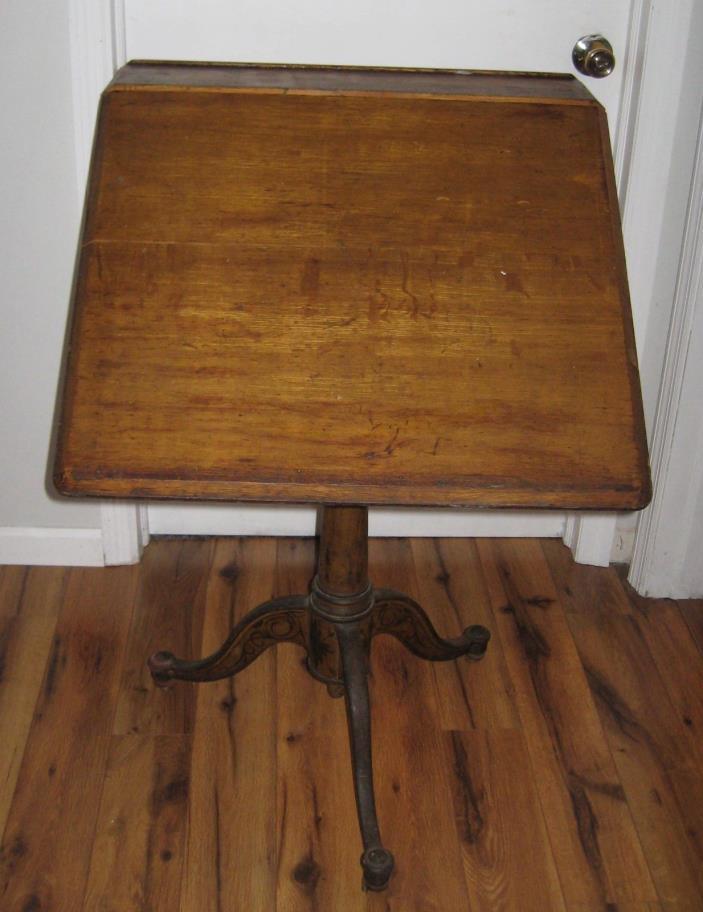 Vtg Cast Iron WashBurn Shops Adjustable Drafting Table Industrial Original Rare