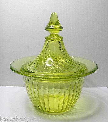 Vaseline Glass Covered Bowl or Candy dish Spiral pattern VTG