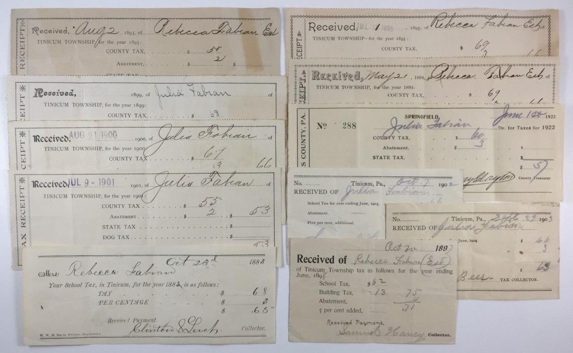 11 Antique State & School Tax Bills Receipts Tinicum Pennsylvania 1883 - 1922