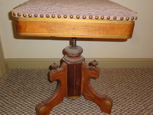 Antique Victorian Walnut Piano or Organ Stool 1800's