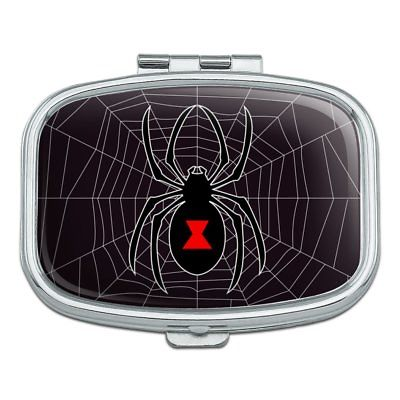 Black Widow Spider on Web Rectangle Pill Case Trinket Gift Box