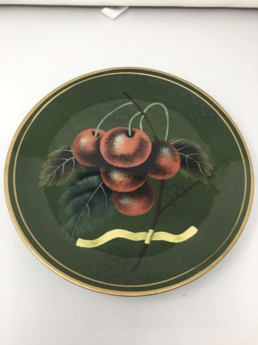 Raymond Waites For Toyo Trading Co Decorate Plate, Green W/ Painted Cherries 10