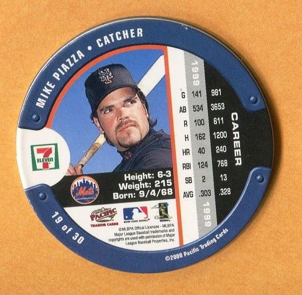 2000 7-11 SLURPEE COIN #19 MIKE PIAZZA NEW YORK METS - Hall of Fame Catcher