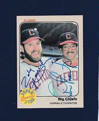 Toby Harrah & Andre Thornton signed Cleveland Indians 1984 Fleer baseball card