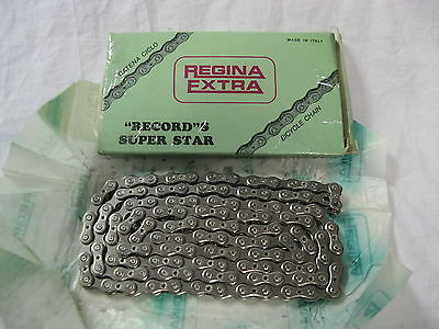 Regina Record S nickel plated drilled chain - for wide 5/6sp freewheels NOS!