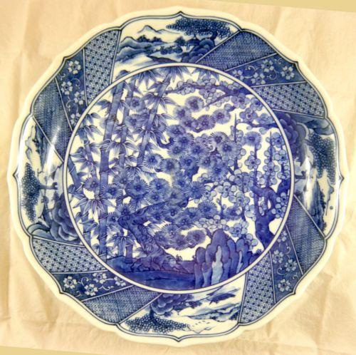 Japanese Arita Blue & White Porcelain Dish. 3 Friends, Artist Signed Meiji 12.5