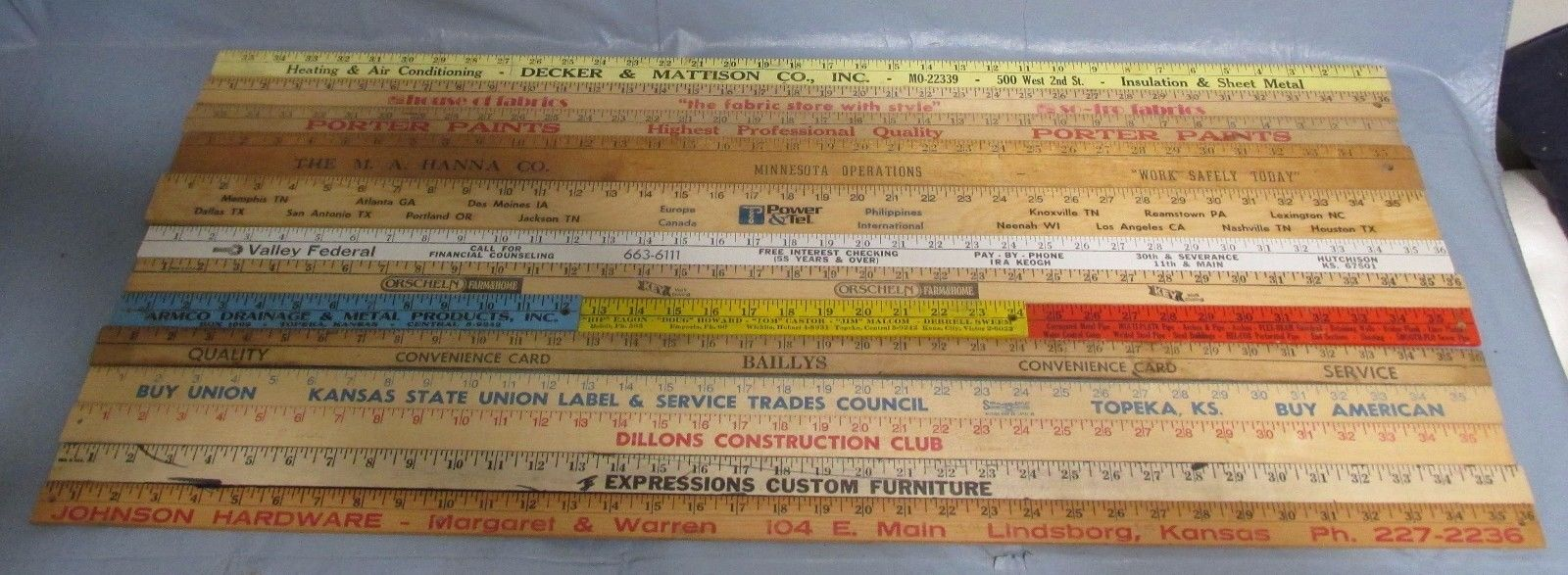 13 VINTAGE Wood Yardsticks Advertising Sheet Metal, Lumber, Hardware,Old Ph#s