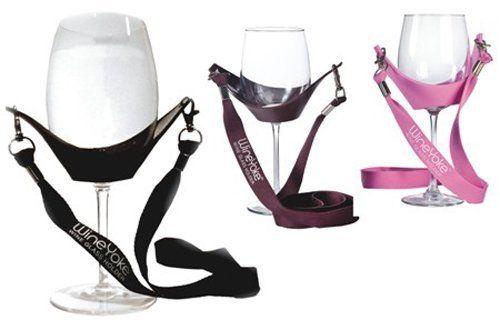 Wine Tasting Wine Glass Holder WineYoke Hand Free Wine Necklace Set of 3