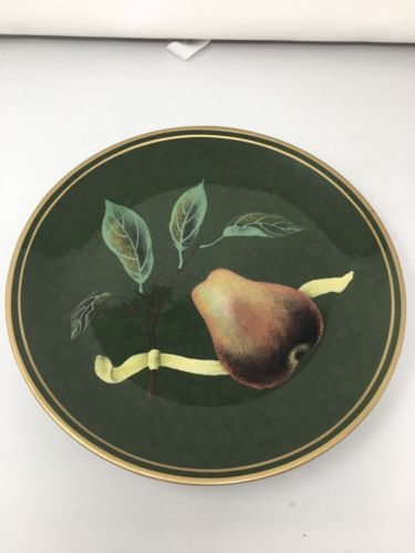 Raymond Waites For Toyo Trading Co. Decorative Plate, Green W/ Pear Painting 10